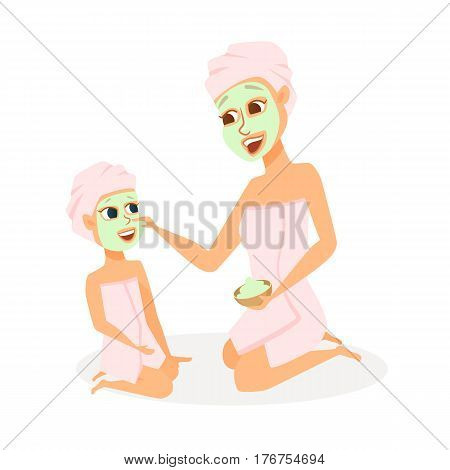 Mother and daughter in spa. Mom and child make face mask in bathroom. Family beauty treatment leisure. Women and girl dressed in towels in cosmetic salon of hotel. Cartoon characters isolated on white