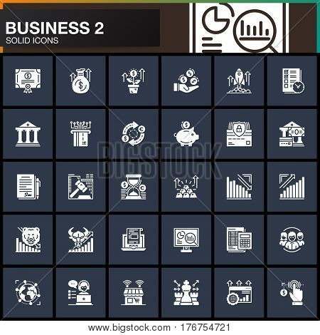 Business finance money vector icons set modern solid symbol collection filled white pictogram pack. Signs logo illustration. Set includes icons as bank bond exchange strategy shop investment
