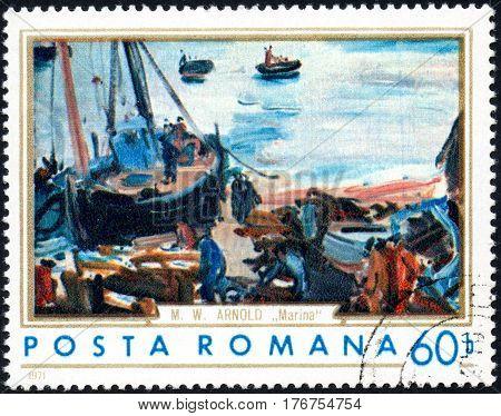 UKRAINE - CIRCA 2017: A stamp printed in the Romania shows ships in a port circa 1971