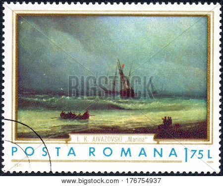 UKRAINE - CIRCA 2017: A stamp printed in the Romania shows The sea according to the picture of the Russian artist Ayvazovsky 1817-1900 circa 1971