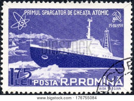 UKRAINE - CIRCA 2017: A stamp printed in the Romania shows known russian Atomic Icebreaker Lenin circa 1959