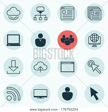 Set Of 16 World Wide Web Icons. Includes Human, Virtual Storage, Display And Other Symbols. Beautiful Design Elements.
