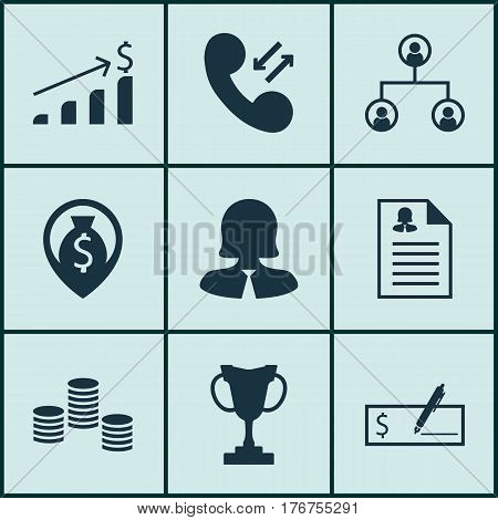 Set Of 9 Hr Icons. Includes Successful Investment, Cellular Data, Business Woman And Other Symbols. Beautiful Design Elements.