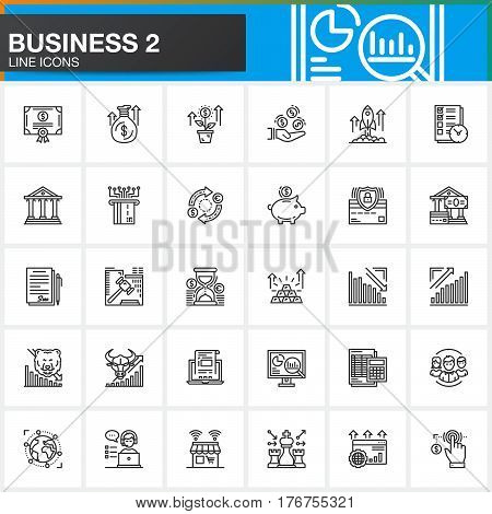 Business finance money payments line icons set outline vector symbol collection linear style pictogram pack. Signs logo illustration. Set includes icons as bank bond exchange strategy shop