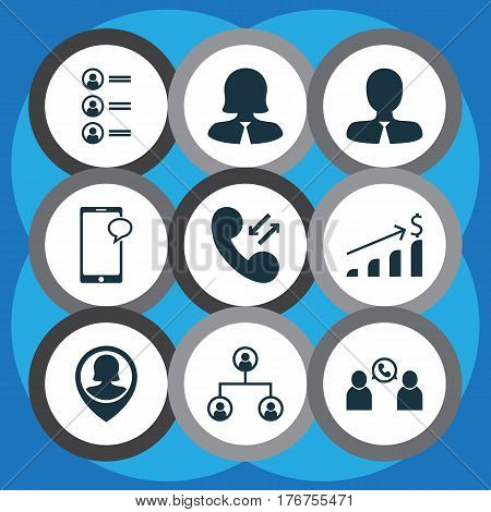 Set Of 9 Management Icons. Includes Cellular Data, Tree Structure, Manager And Other Symbols. Beautiful Design Elements.