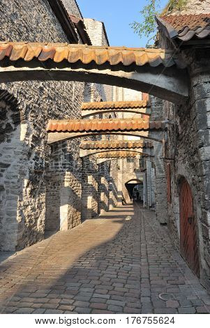 Tallinn Estonia. Medieval Old Town in a sunny summer day