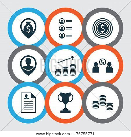Set Of 9 Hr Icons. Includes Job Applicants, Money, Business Goal And Other Symbols. Beautiful Design Elements.