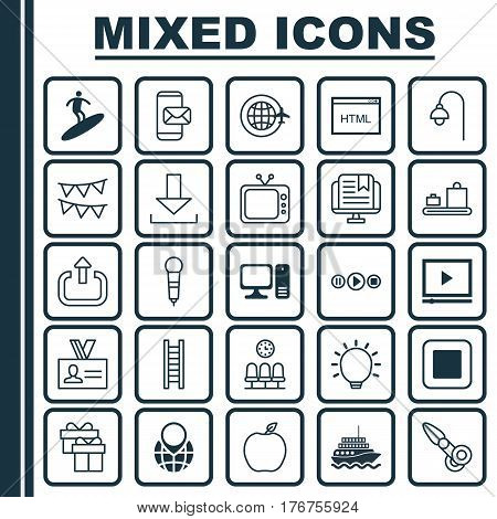 Set Of 25 Universal Editable Icons. Can Be Used For Web, Mobile And App Design. Includes Elements Such As E-Study, Nectarine, Clippers And More.