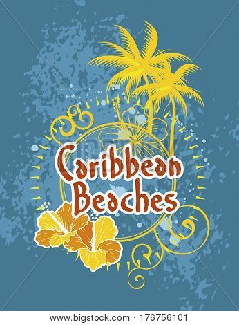Logo of caribbean beaches with palm trees and flowers