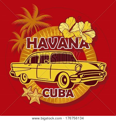 Image of havana cuba with old car and tropical background