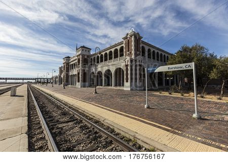 Barstow, California, USA - March 11, 2017:  Amtrak rail stop at the historic Barstow Harvey House train station in the Mojave Desert.