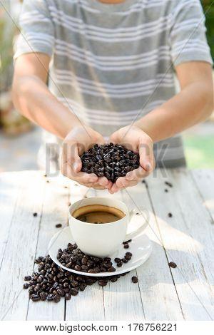 Coffee Bean In Kid Hand