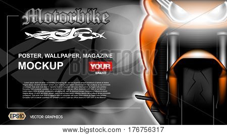 Digital vector orange new modern sport motorcycle close up mockup, ready for print or magazine design. Your brand, motor show and exhibition, lights on. Dark background, white fog. Realistic 3d