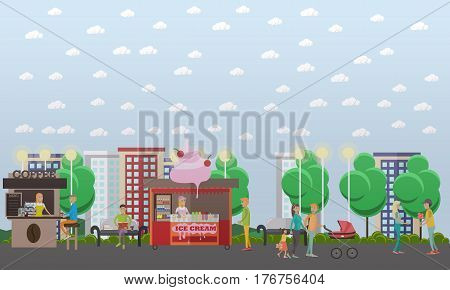 Vector illustration of happy couples walking in the street. Loving family couple with their kids. Pair of lovers going out for a date. Flat style design.