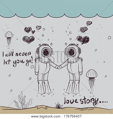 Cute love of two divers-boy and girl.Love story.Character design.Vintage childish vector illustration
