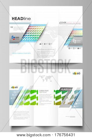 Tri-fold brochure business templates on both sides. Easy editable abstract vector layout in flat design. Colorful rectangles, moving dynamic shapes forming abstract polygonal style background.