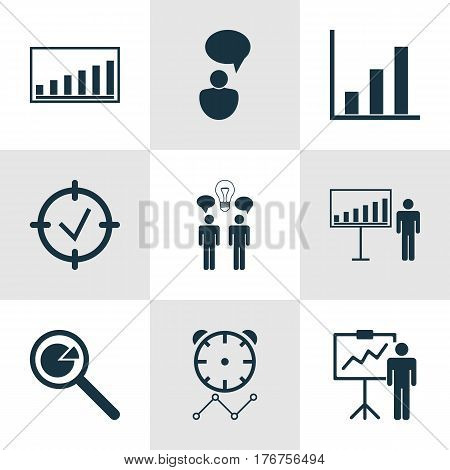 Set Of 9 Management Icons. Includes Bar Chart, Project Analysis, Co-Working And Other Symbols. Beautiful Design Elements.