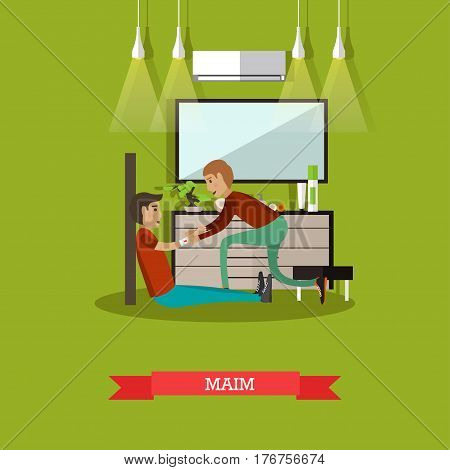 Vector illustration of man bandaging injured arm of sitting on the floor man. First aid at home, maim concept design element in flat style.
