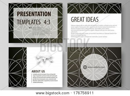 Set of business templates for presentation slides. Easy editable abstract vector layouts in flat design. Celtic pattern. Abstract ornament, geometric vintage texture, medieval classic ethnic style.