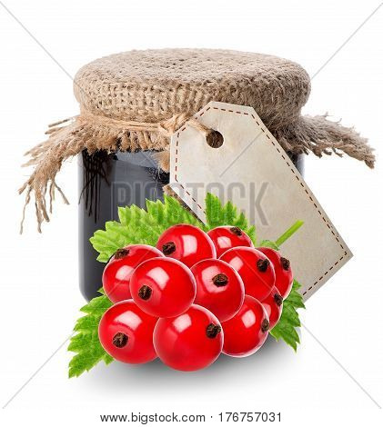 Red currant and jam isolated on a white background