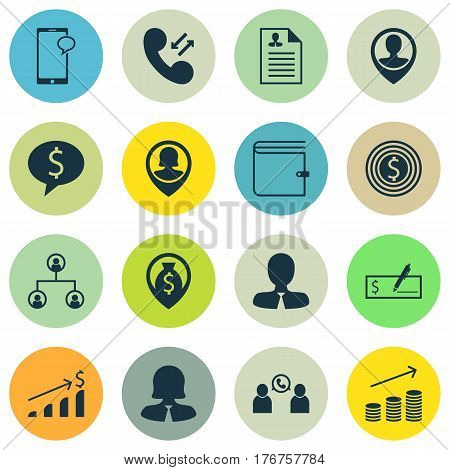 Set Of 16 Human Resources Icons. Includes Employee Location, Phone Conference, Wallet And Other Symbols. Beautiful Design Elements.