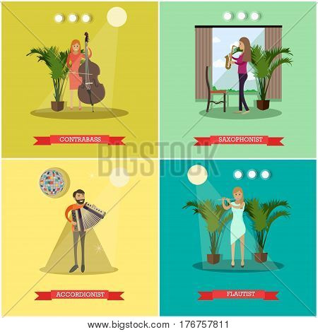 Vector set of posters with musicians male and female playing musical instruments. Contrabass, Saxophonist, Accordionist and Flautist flat style design elements.