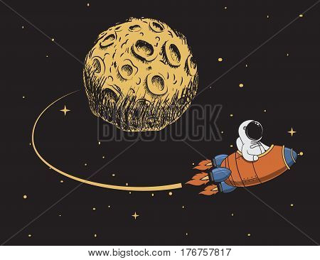 astronaut come back after mission to moon.Spaceman adventure.Childish color vector illustration