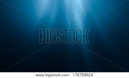 3D Rendered Illustration Of Sun Rays Under Water. Undersea Backg