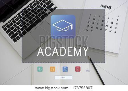 Illustration of literacy academics education mortar board