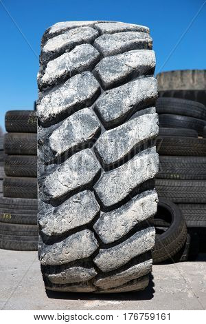 front view of big used bulldozer tire