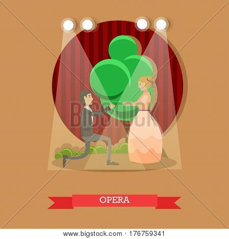 Vector illustration of young opera singers male and female acting on stage. Flat style design.