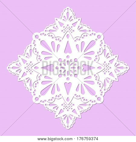 Openwork carved mandala. Laser cutting template. The design is suitable for greeting cards envelopes festive invitations decorative interior elements.