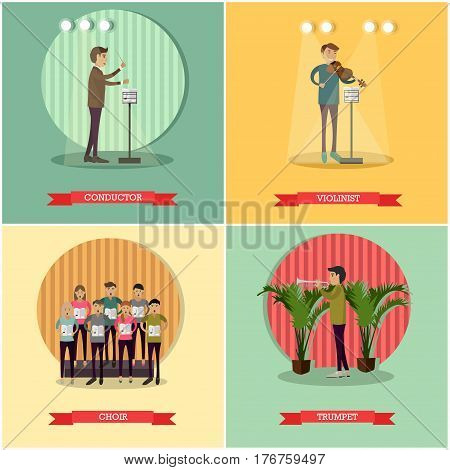 Vector set of orchestra concept posters. Conductor, Violinist, Choir and Trumpet design elements in flat style.