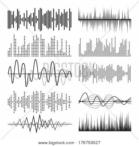 Music Sound Waves Pulse Abstract Vector. Audio Technology Musical Pulse Or Sound Charts. Equalizer Sound Waves