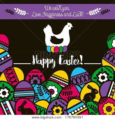 Easter greetings card with color easter eggs and one hen flowers and rabbit. Ideal for printing onto fabric and paper or scrap booking vector illustration