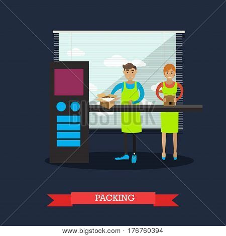 Vector illustration of factory workers male and female packing goods into cardboard boxes on conveyor belt. Packing plant. Factory packing design element in flat style.