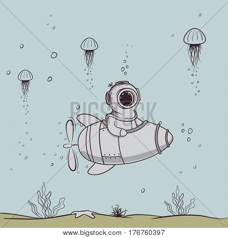 Funny diver floats on submarine in the deep sea.Character design.Vintage childish vector illustration