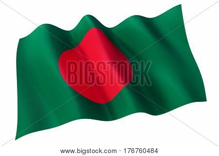 3d rendering of Bangladesh official flag isolated on white background.