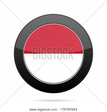 National flag of Monaco. Shiny black round button with shadow.