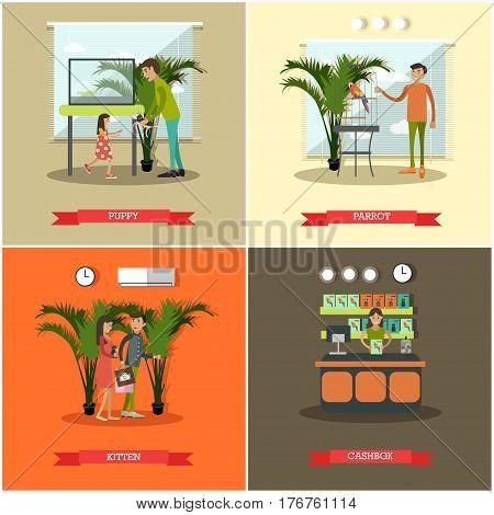 Vector set of pet store posters. Puppy, Kitten, Parrot and Cashbox flat style design elements.
