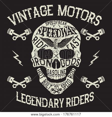 Vintage motors.Emblem with skull.Prints design for t-shirts