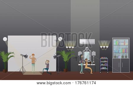 Vector illustration of makeup artist and photographer working with fashion models male and female. Makeup, photosession concept design element in flat style.
