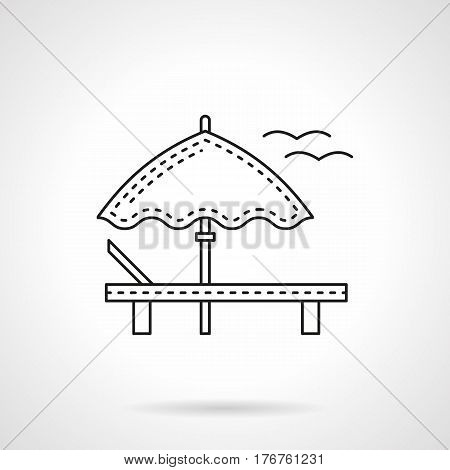 Summertime beach leisure concept. Empty deckchair and umbrella. Sea vacations symbol. Flat black line vector icon.
