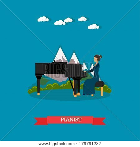 Vector illustration of musician female playing piano. Pianist playing music on outdoors holiday event flat style design element.