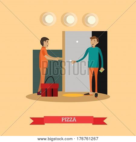 Vector illustration of delivery man giving pizza box to customer male. Pizza delivery flat style design element.