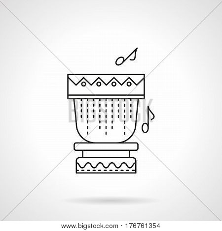 Tropical drum with notes, percussion tunes. Element for sea beach party, music festival. Flat black line vector icon.