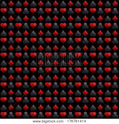 Seamless casino gambling black background with red and black symbols vector illustration. Ideal for printing onto fabric and paper or scrap booking