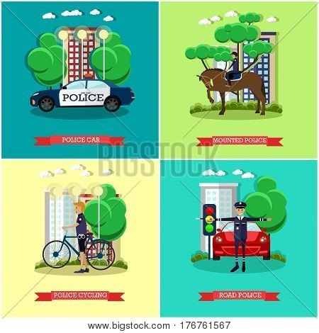 Vector set of police concept posters, banners. Mounted and road police, Police transport car and bicycle design element in flat style.
