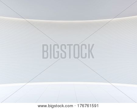 Empty white room modern space interior 3d rendering image.A blank wall with pure white. Decorate wall with extrude horizon line pattern and hidden warm light
