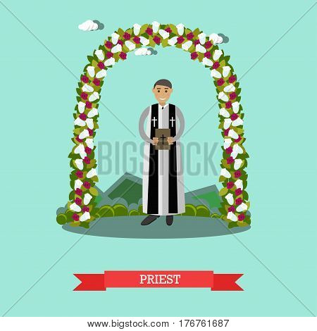 Vector illustration of priest standing under wedding arch. Outdoors wedding ceremony flat style design element.